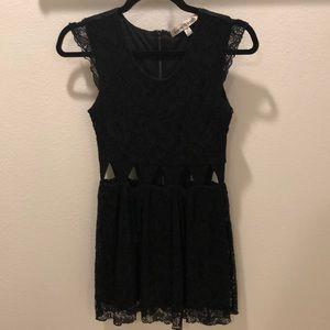 Lovers + friends mini lace dress with cutout waist